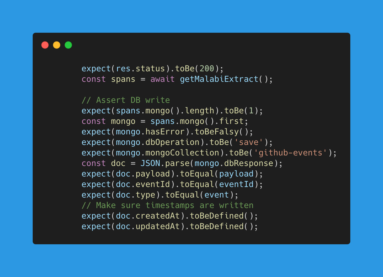 A quick code example for the assertion using Malabi