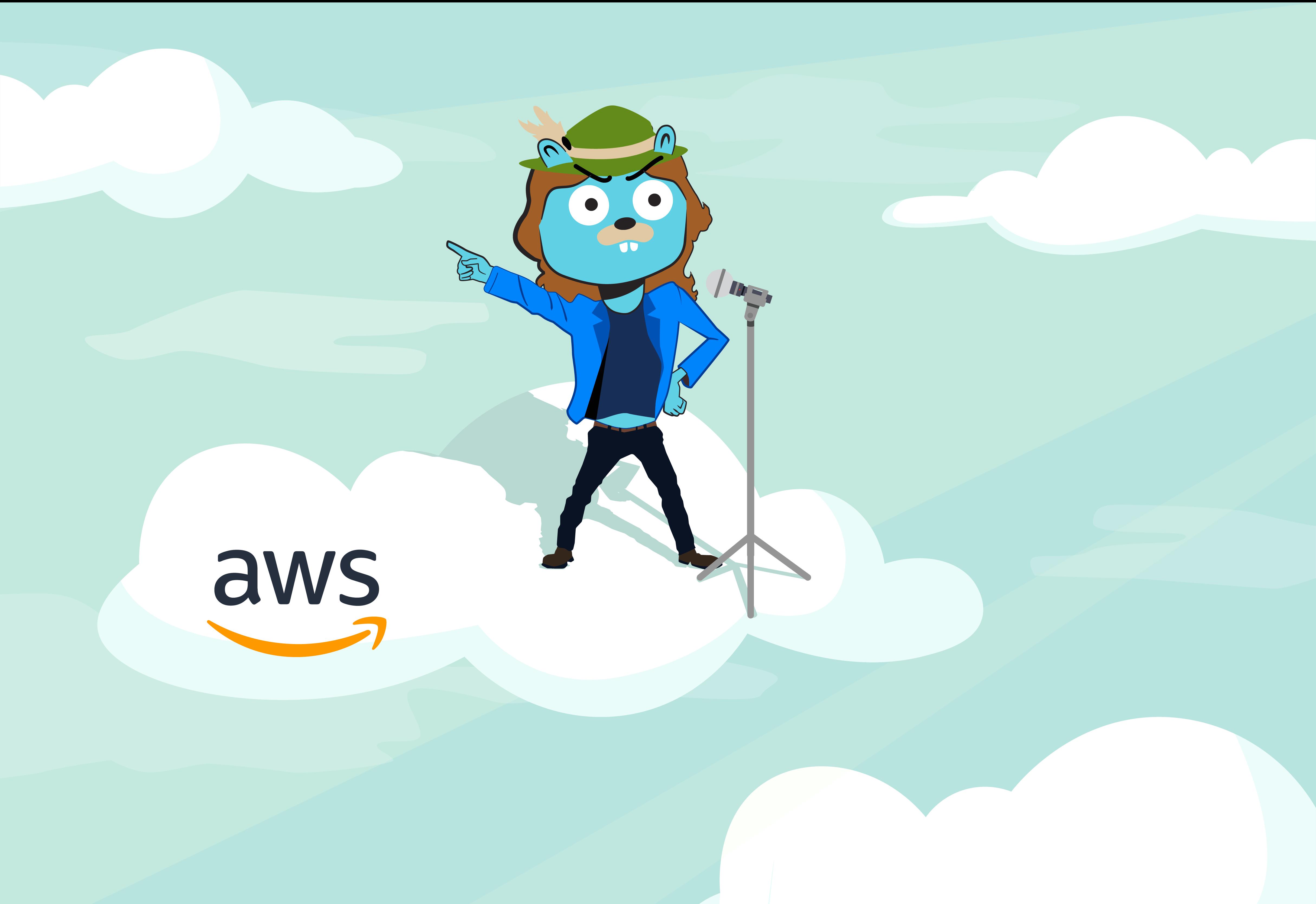 Jaeger logo dressed as Mick Jagger on an AWS cloud