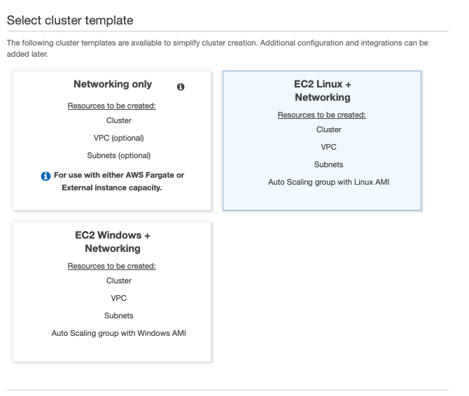 Creating ECS cluster then selecting EC2 Linux plus Networking