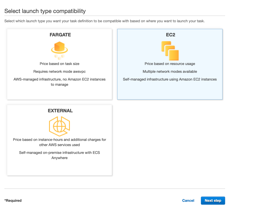 choosing EC2 as for the launch type compatibility